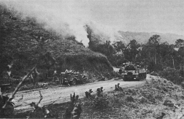 US Sixth Army at Oriung Pass on Luzon, 14 June 1945, on way to Cagayan Valley (US Army Center of Military History)
