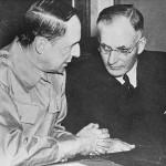 US Gen. Douglas MacArthur and Australian Prime Minister John Curtin meet at Australian Parliament House, 26 March 1942 (Australian government photo NAA A1200, L36449, public domain)