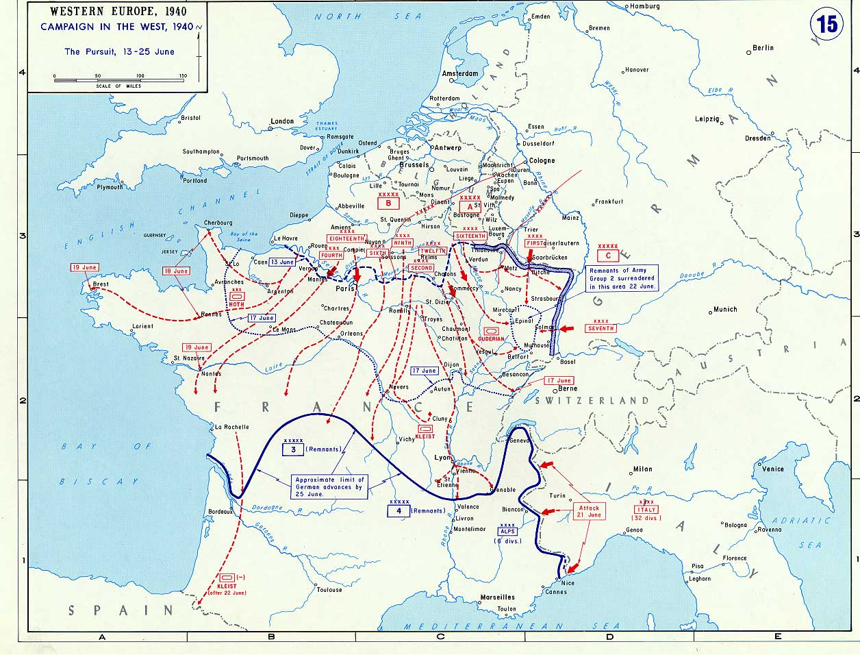 Map showing the German and Italian advances in France, 13-25 Jun 1940 (US Military Academy)
