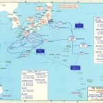 Map depicting the proposed invasion routes of Operations Olympic and Coronet, with Japanese defensive positions as of Aug 1945 (US Military Academy)