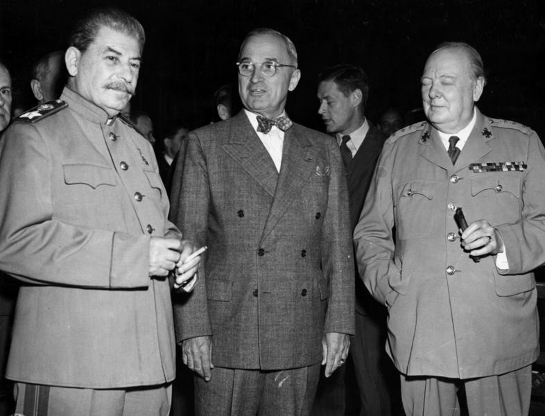 Josef Stalin, Harry Truman, and Winston Churchill at the Potsdam Conference, Germany, 17 Jul 1945 (Harry S. Truman Presidential Library and Museum: 63-1455-26)