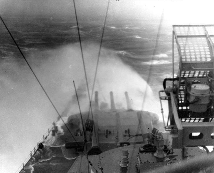 Battleship USS Indiana in a typhoon near Okinawa, 5 Jun 1945 (US National Archives: 80-G-342732)