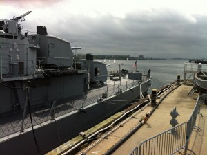 Aft guns and stern, USS Cassin Young, Charlestown Navy Yard, Boston, July 2014 (Photo: Sarah Sundin)
