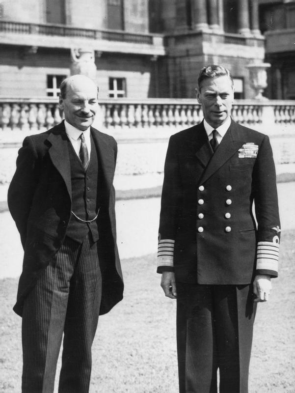 British Prime Minister Clement Attlee and King George VI of the United Kingdom, Buckingham Palace, London, England, 26 Jul 1945. (Imperial War Museum: HU 59486)