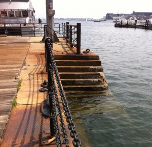 Steps down into Dry Dock 2 at the Charlestown Navy Yard, Boston (Photo: Sarah Sundin, July 2014)