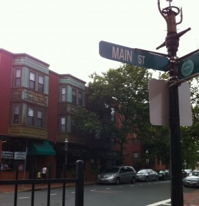 Main Street and Henley in Charlestown, site of the fictional Dixon's Drugs in Anchor in the Storm. (Photo: Sarah Sundin, July 2014)