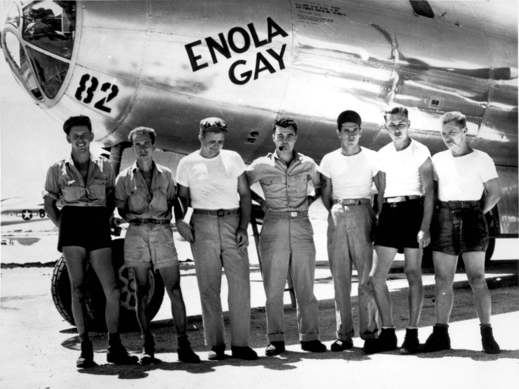 Col. Paul Tibbets and the crew of B-29 Superfortress Enola Gay, 5 Aug 1945 (US Army photo)