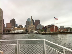 View of downtown Boston from the ferry, the Custom House in the center (Photo: Sarah Sundin, July 2014)
