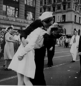 The famous kiss at Times Square, New York City, 14 Aug 1945 (Photographer: Victor Jorgensen; US National Archives)