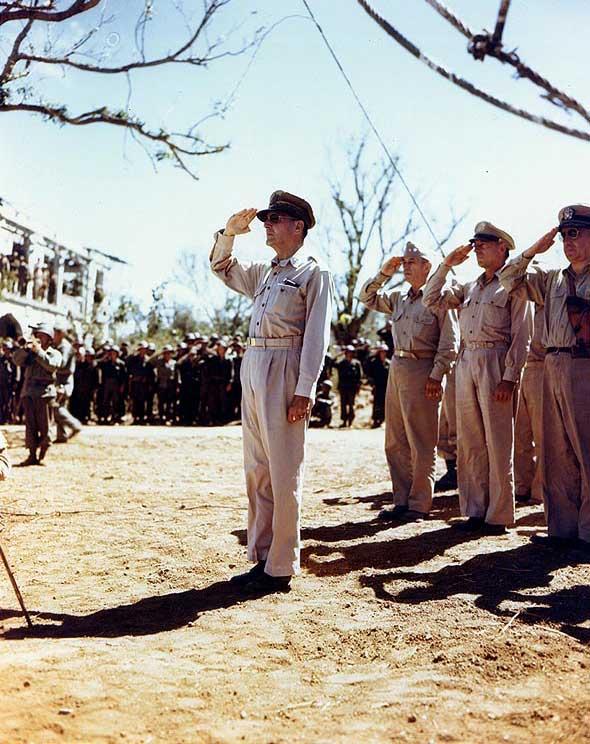 Gen. Douglas MacArthur, Philippines, 1 Aug 1945 (US National Archives: USA C-2405)