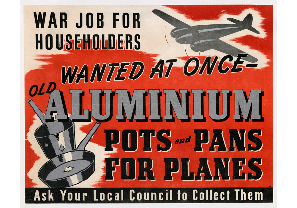 "British poster in ""Pots and Pans into Planes"" scrap collection campaign, WWII"
