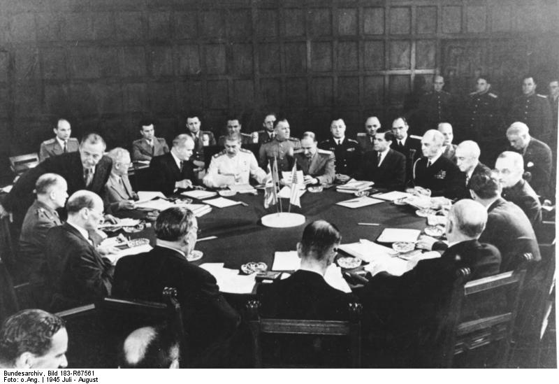 Stalin, Attlee, Truman, and others at the Potsdam Conference, Germany, 28 Jul 1945 (German Federal Archive, Bild 183-R67561)