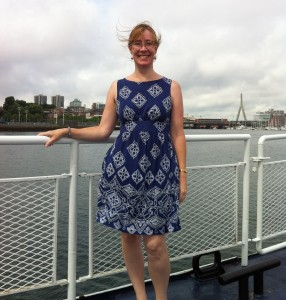 Sarah Sundin on the ferry to the Charlestown Navy Yard in Boston on a research trip, July 2014