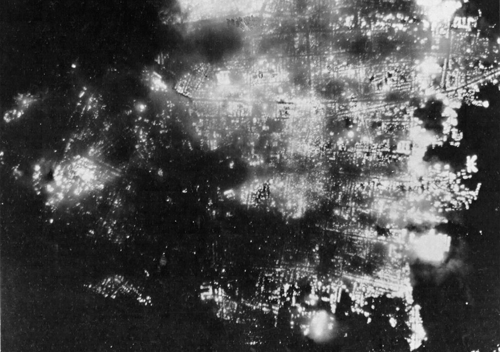 Fires raging in Toyama, Japan during an American air raid, 1 Aug 1945 (US Air Force photo)