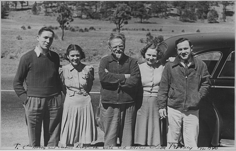 Leon Trotsky and American admirers in Mexico, 5 April 1940 (US National Archives: 283642)