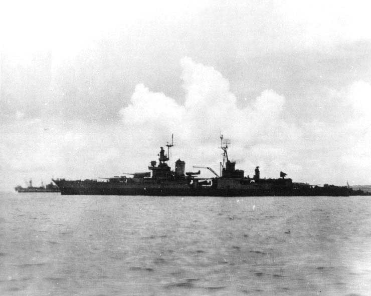 Heavy cruiser USS Indianapolis off Tinian, days before she was sunk, circa 26 Jul 1945 (US Naval History & Heritage Command: NH 73655)