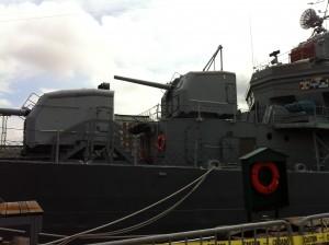 Forward guns and bridge, USS Cassin Young, Charlestown Navy Yard, Boston, July 2014 (Photo: Sarah Sundin)