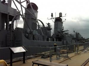 Funnels (stacks) of the USS Cassin Young, Charlestown Navy Yard, Boston, July 2014 (Photo: Sarah Sundin)