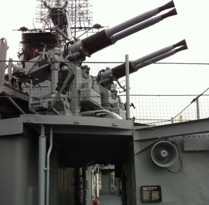 Quad-mount 40-mm guns on USS Cassin Young, Charlestown Navy Yard, Boston, July 2014 (Photo: Sarah Sundin)