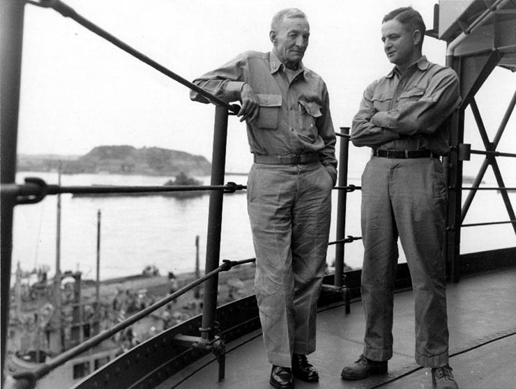 Vice Adm. John S. McCain, Sr. with his son Cdr. John S. McCain, Jr. together for the last time in Tokyo Bay at the surrender ceremony, 2 Sep 1945 (US Naval History & Heritage Command: NH 92607)