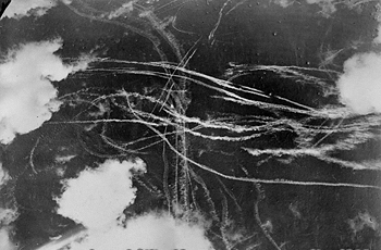 Condensation trails left by British and German aircraft after a dogfight over Britain, 18 September 1940 (Imperial War Museum: 4700-37 H 4219)
