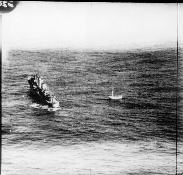 Royal Navy destroyer HMS Anthony rescues survivors from a lifeboat from SS City of Benares which had been adrift for eight days after the ship was sunk, 26 Sept 1940 (Imperial War Museum: CH 1354)