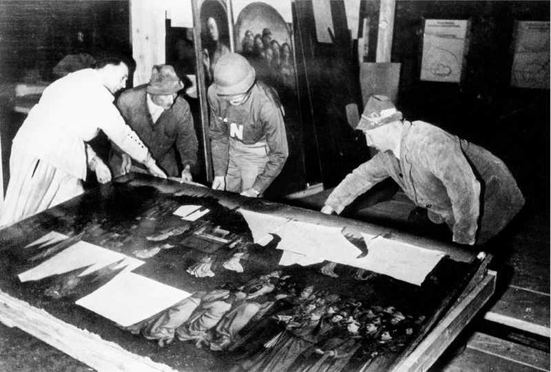 The Ghent Altarpiece recovered from the Altaussee salt mine, July 1945 (US National Archives)