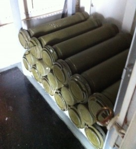 Powder cases for 5-inch gun in handling room, USS Cassin Young, Charlestown Navy Yard, Boston, July 2014 (Photo: Sarah Sundin)