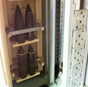 5-inch projectiles in handling room, USS Cassin Young, Charlestown Navy Yard, Boston, July 2014 (Photo: Sarah Sundin)