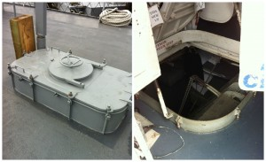 Hatches (closed and open) on the USS Cassin Young, Charlestown Navy Yard, Boston. July 2014 (Photos: Sarah Sundin)