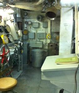 Engine room gauge board, USS Joseph P. Kennedy, Jr., Battleship Cove, Fall River, MA, July 2014 (Photo: Sarah Sundin)