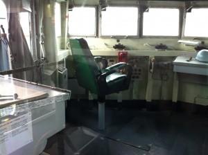 Port side of pilothouse, USS Joseph P. Kennedy, Jr., Battleship Cove, Fall River, MA, July 2014 (Photo: Sarah Sundin)