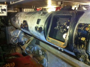 Rangefinder in 16-inch gun turret, battleship USS Massachusetts, Battleship Cove, Fall River, MA, July 2014