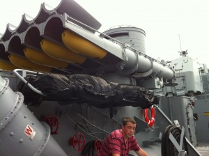 Torpedo tubes (and my son!) on USS Cassin Young, Charlestown Navy Yard, Boston, July 2014 (Photo: Sarah Sundin)