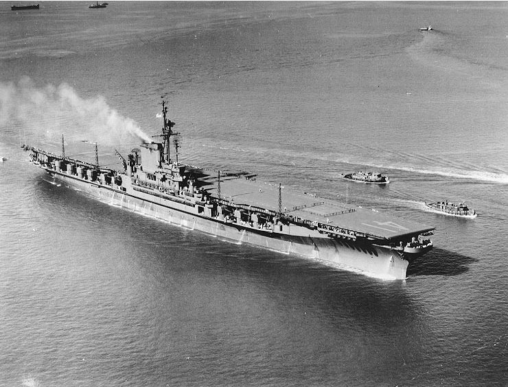 USS Midway (CVB-41) after her commissioning, Hampton Roads, VA, 10 September 1945 (US Navy photo)