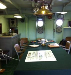 Wardroom, USS Cassin Young, Charlestown Navy Yard, Boston, July 2014 (Photo: Sarah Sundin)