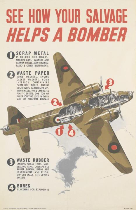 British wartime poster of a Vickers Wellington medium bomber (used in first RAF bombing of Berlin) to illustrate how scrap and salvage was used in production (Imperial War Museum: PST 14695)