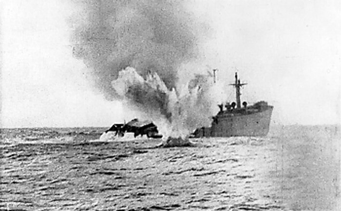 Allied merchant ship being shelled by a German U-boat, date unknown (Imperial War Museum: MISC 51237)