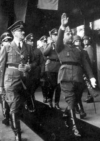 Adolf Hitler and Francisco Franco, Hendaye train station, France, 23 Oct 1940 (public domain via WW2 Database
