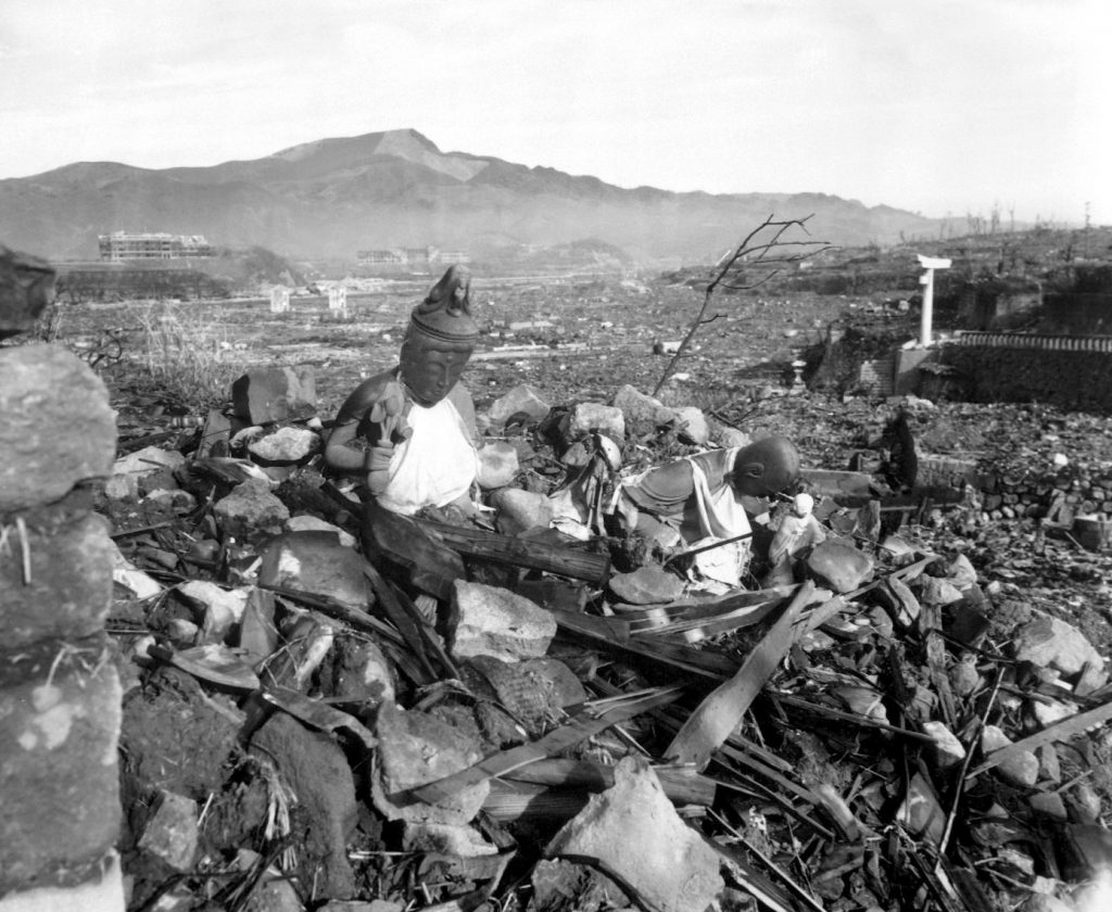 Rubble from a destroyed Buddhist Temple in Nagasaki, Japan, 24 Sep 1945 (US National Archives: 127-N-136176)