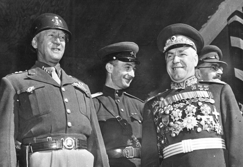 US Gen. George Patton and Soviet Gen. Georgy Zhukov, Berlin, Germany, 7 Sep 1945 (US National Archives)