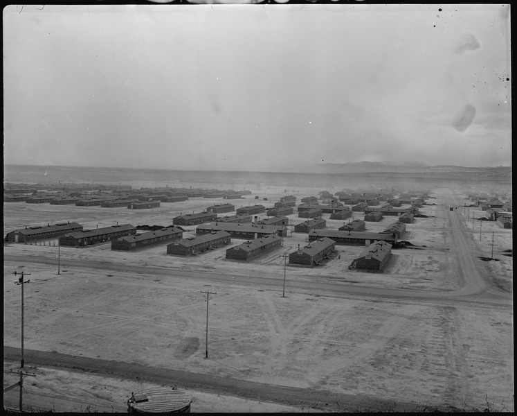 Panoramic view of the Topaz War Relocation Center in Utah, taken from the water tower, 14 March 1943 (US National Archives: 536975)