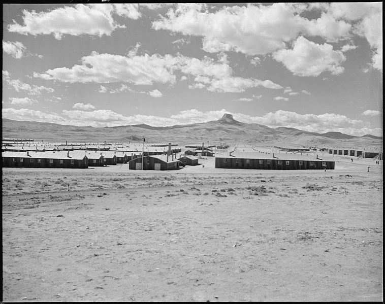 Heart Mountain Relocation Center, Heart Mountain, WY, with its namesake, Heart Mountain, on the horizon, 18 September 1942 (US National Archives: 538782)