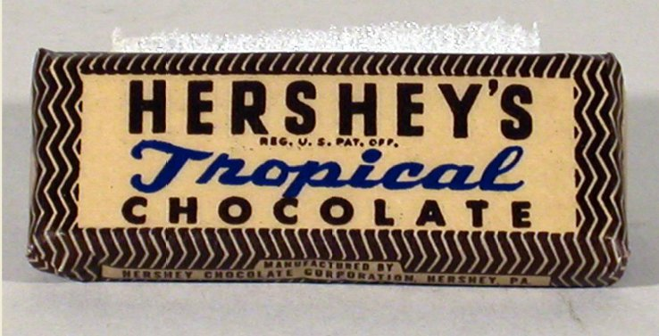 Hershey's tropical chocolate bar, a heat-resistant bar designed for US military use, 1943 (Smithsonian Institute)