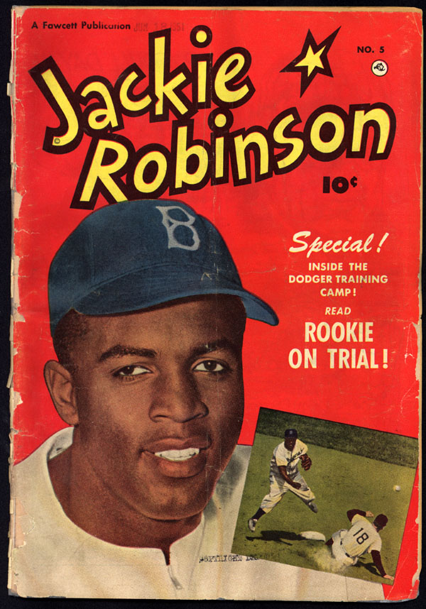 Front cover of Jackie Robinson comic book (issue #5), 1951, showing Jackie Robinson in Brooklyn Dodgers cap (Library of Congress: ppmsc.00133)