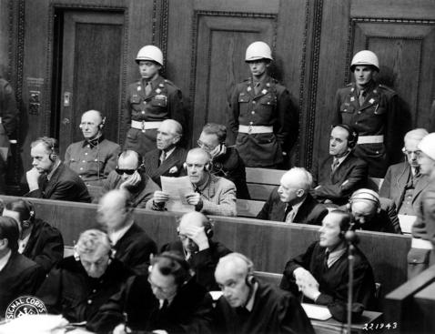 Frank, Frick, Funk, Jodl, Rosenberg, Seyß-Inquart, Speer, Streicher, Neurath, and Papen at the Nuremberg Trial, Germany, 27 Nov 1945 (Harry S. Truman Presidential Library and Museum: 2004-439)