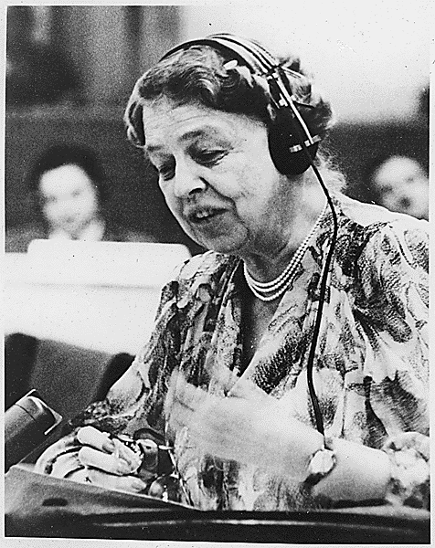 Eleanor Roosevelt speaking at the UN, July 1947 (Franklin D. Roosevelt Presidential Library and Museum ID #65732)