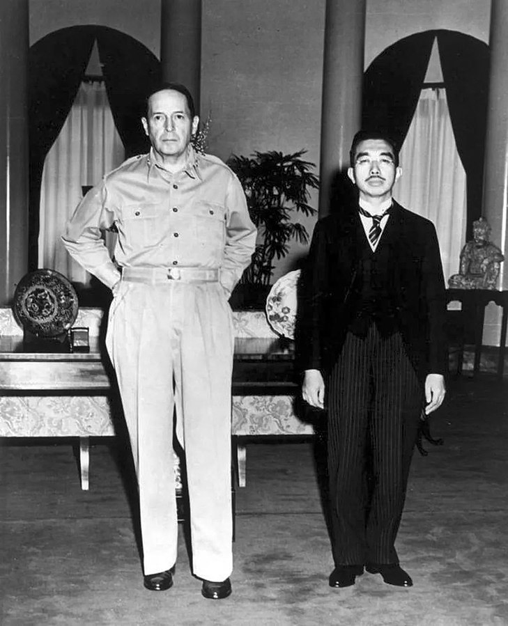 Gen. Douglas MacArthur and Emperor Hirohito at the US Embassy in Tokyo, Sept. 27, 1945 (US Army photo)