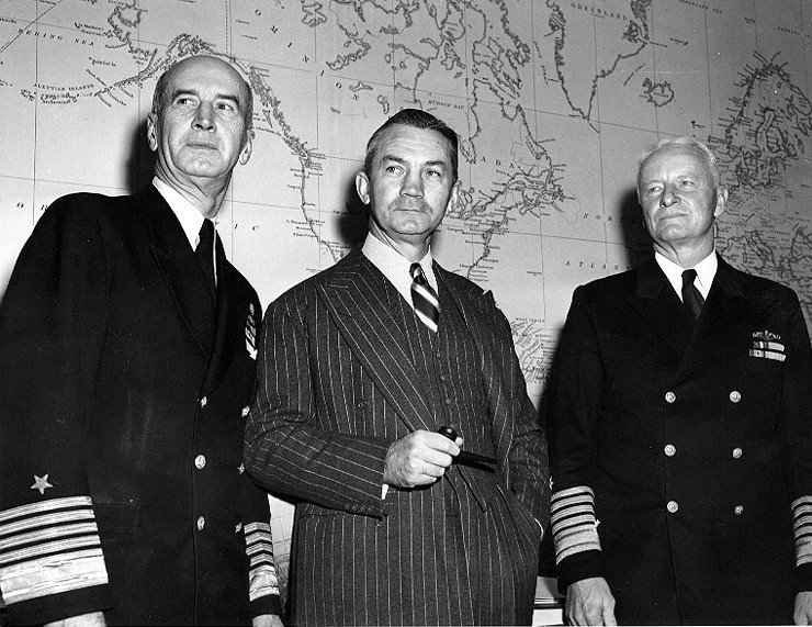 Adm. Ernest King, Secretary of the Navy James V. Forrestal, and Adm. Chester Nimitz at the Navy Department, Washington DC, 21 Nov 1945 (US National Archives: 80-G-701553)