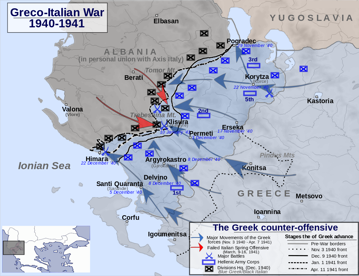 Map showing the Greek counteroffensive against the Italians, 13 Nov 1940-7 April 1941 (via Wikimedia Creative Commons)